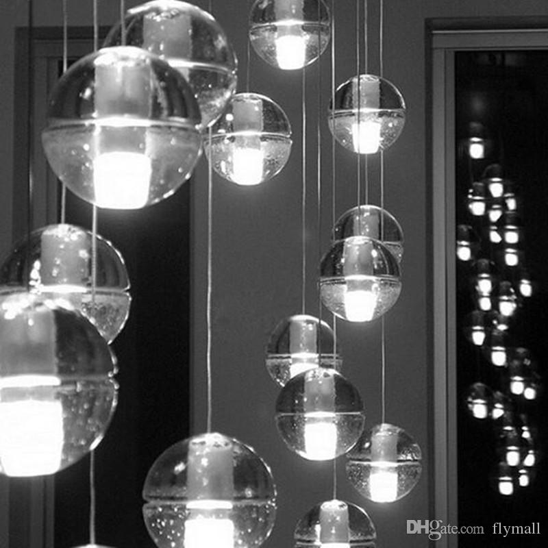 led crystal glass ball pendant lamp meteor rain ceiling. Black Bedroom Furniture Sets. Home Design Ideas