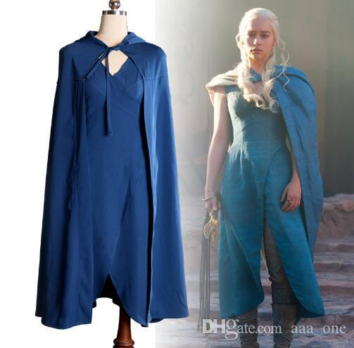 Game Of Thrones Daenerys Targaryen Cosplay Costumes Sex Blue Dress Cloak Halloween Costume For