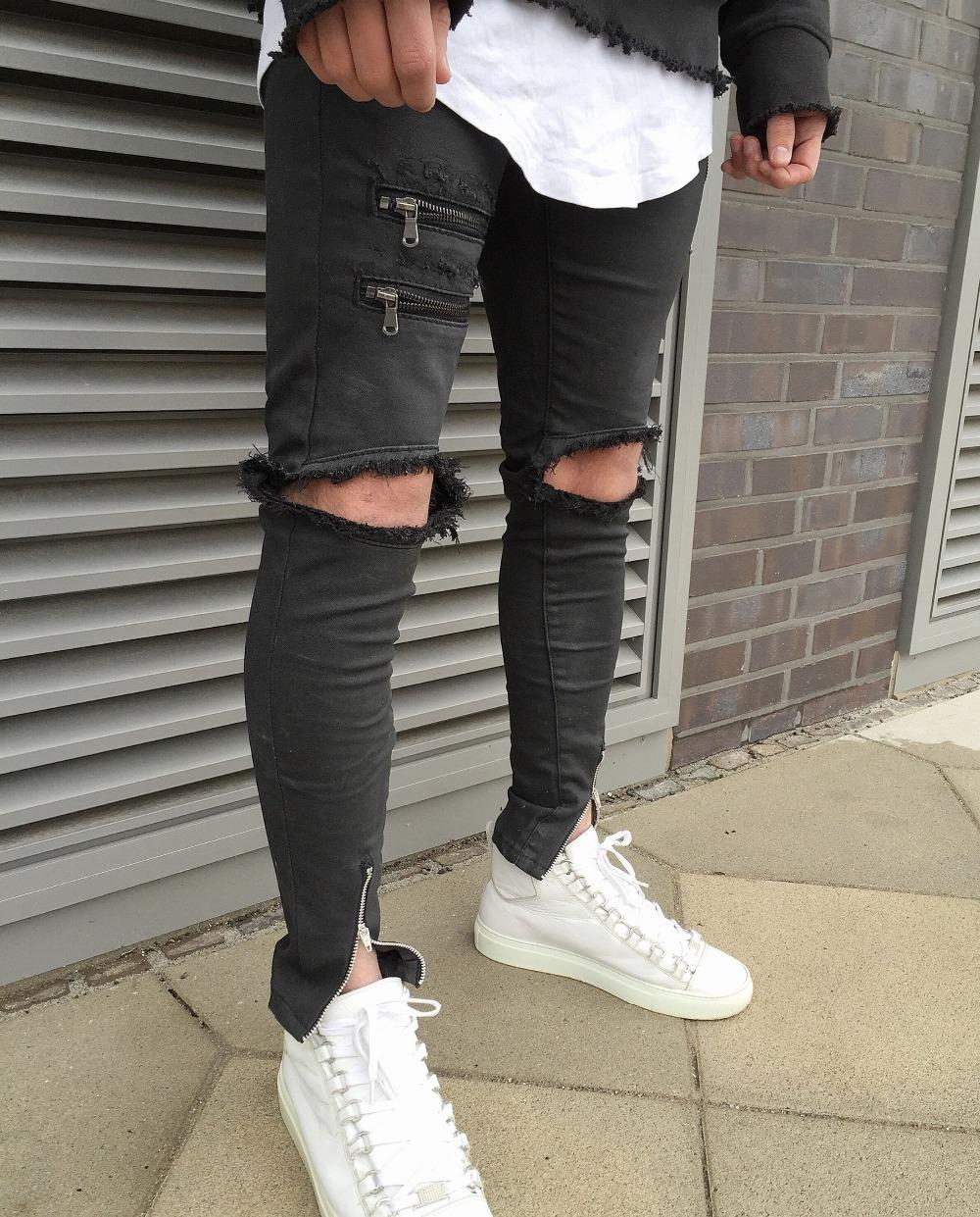 Black Straight Leg Jeans Men