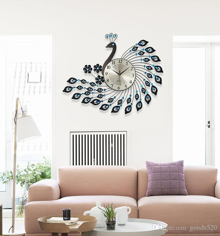 Peacock Wrought Iron Wall Clock With Diamonds Living Room Decoration Bedroom Wall Clock Peacock