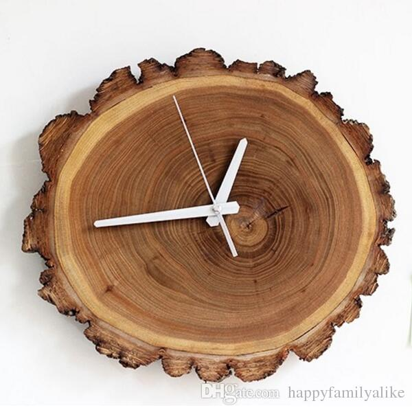 Wood wall clock annual ring natural decorative clock for Small clocks for crafts