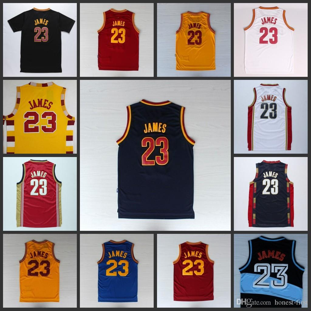 CAVS # 23 Lebron James blanc bleu rouge marron pullback manches courtes orange j