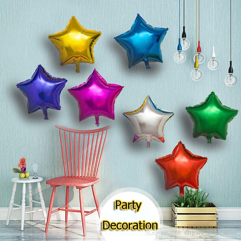Colorful star foil balloons five pointed star balloon for for 7 star balloon decoration