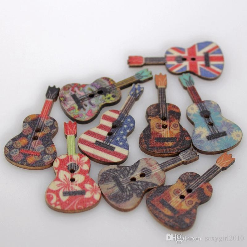2017 top selling guitar shaped buttons 2 holes wooden for Top selling crafts 2017