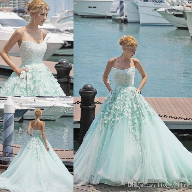 Discount New Light Sky Blue Wedding Dress Strapless Beading ...