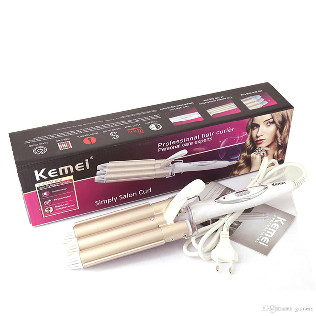 Amazing New Km 1010 Professional Triple Barrel Ceramic Hair Wave Waver Short Hairstyles For Black Women Fulllsitofus