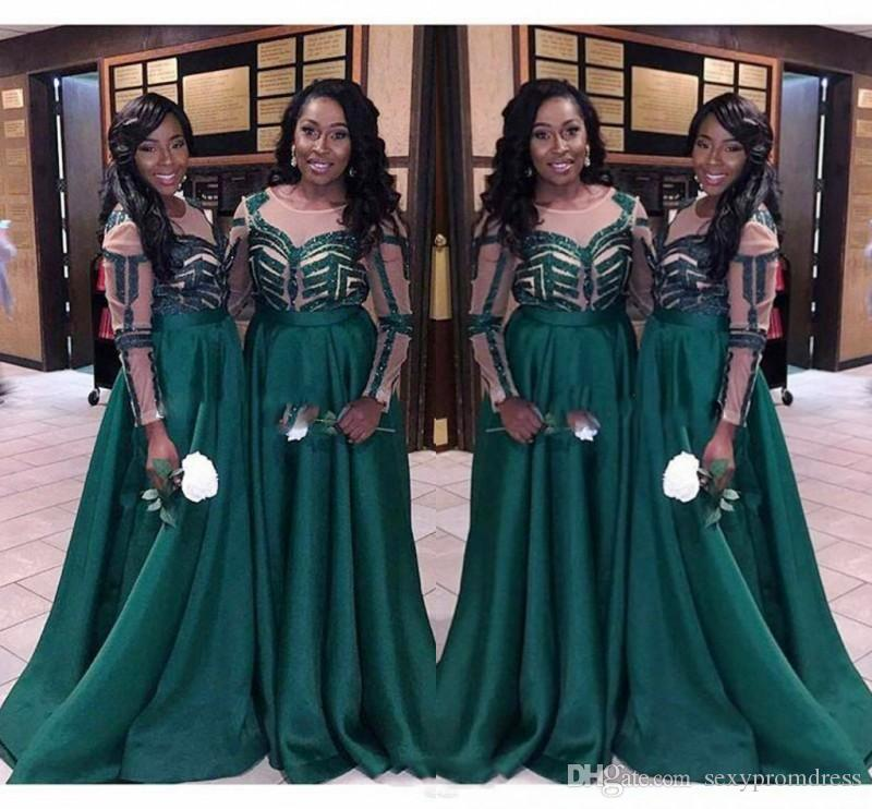 Nigeria Dark Green Bridesmaid Dresses For Wedding 2017 Plus Size Long Sleeves Maid Of Honor