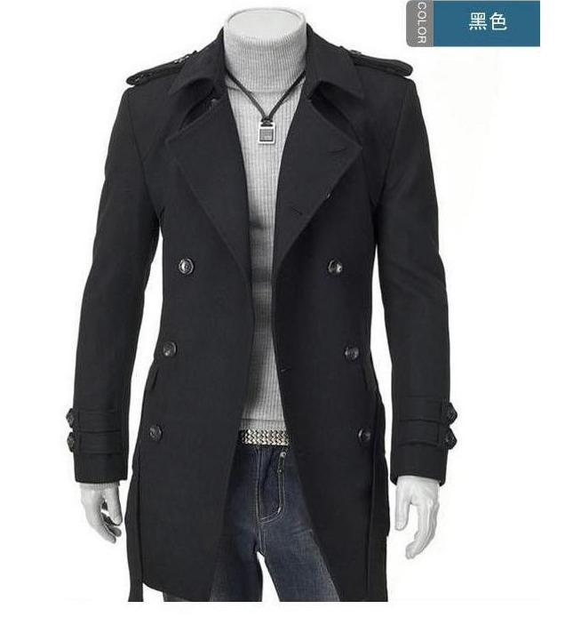 Wholesale- Grey Badges Pea Coats for Men Trench Coat Slim Double ...
