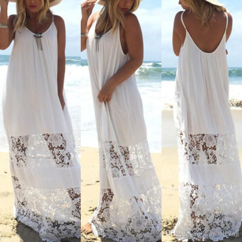 Sexy Women Long Lace Summer Beach Bohemia Boho Maxi Robes Sundress Robe sans man