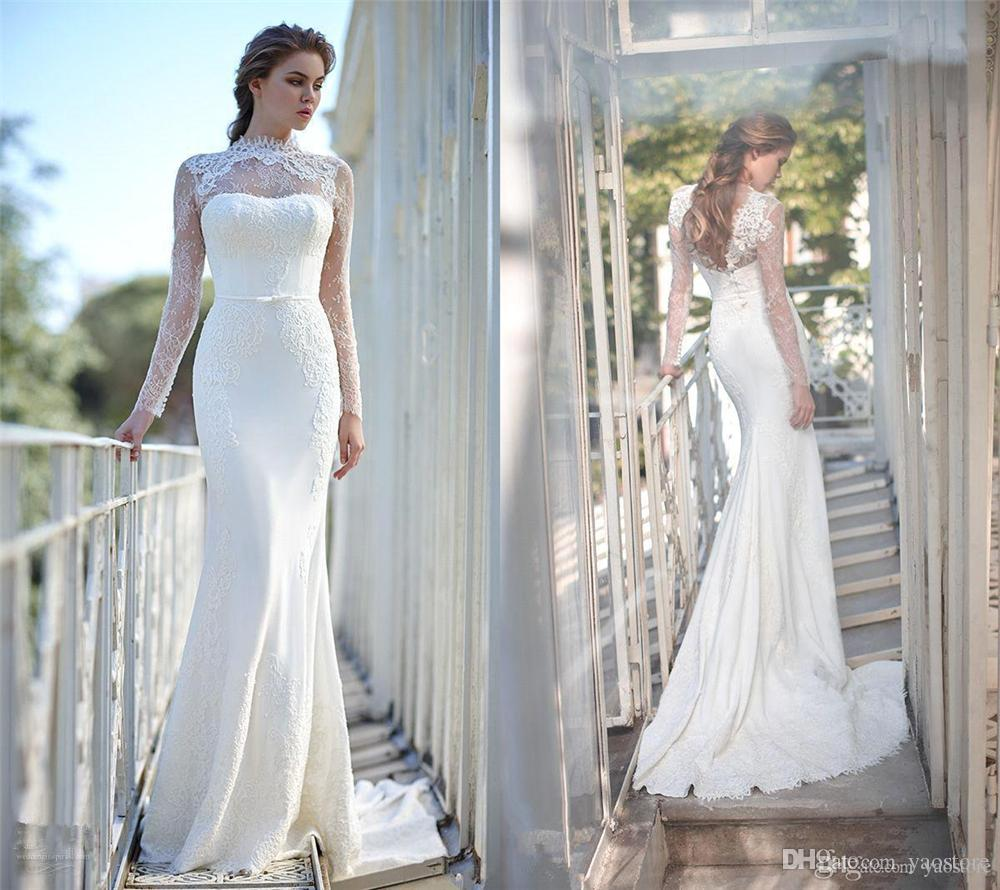 2017 New Arrival Modern Lace Mermaid Wedding Gowns High
