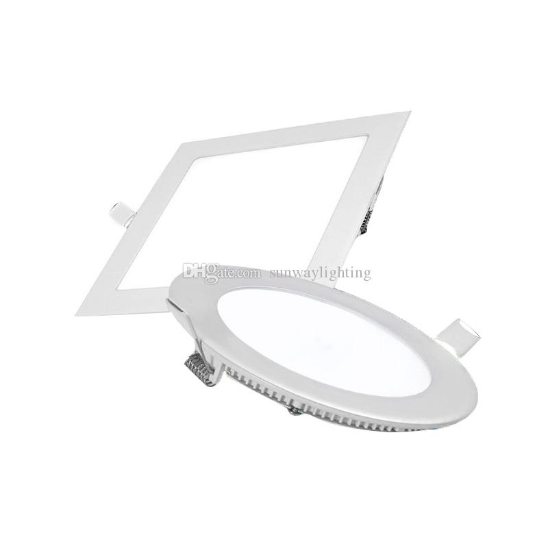 Ultrathin rond carré LED downlights 4w 6w 9w 12w 15w 18w 21w encastré panneau LE
