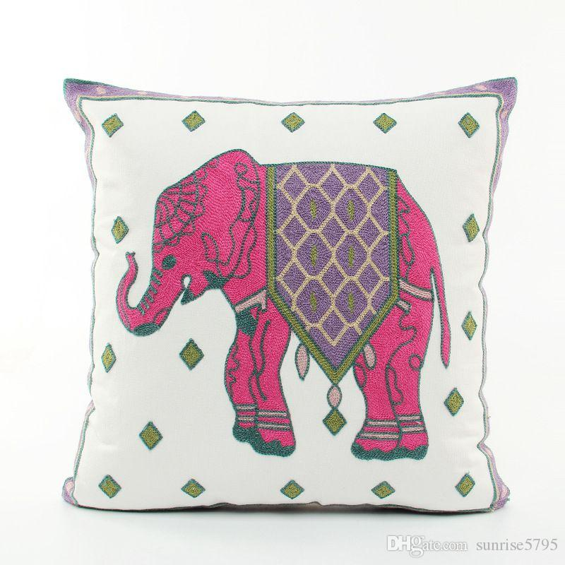 Embroidered animal cojines elephant cushion cover