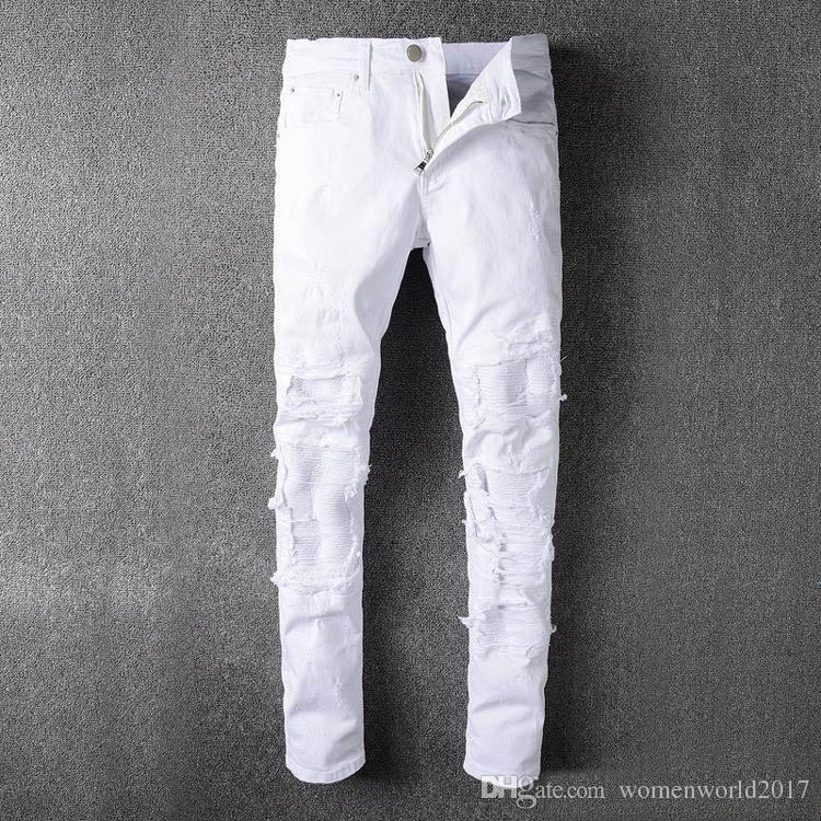 White Distressed Ripped Jeans For Men Brand Designer JUSTIN BIEBER ...