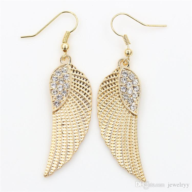 2018 Crystal Angel Wing Earring Fashion Golden Silver Fish