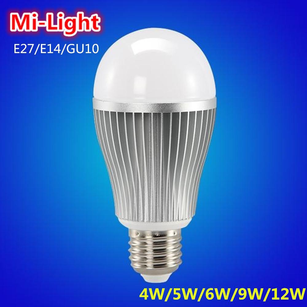 2017 Wholesale Mi Light Ac85 265v 110v 220v 4w 5w 6w 9w 12w Smart Led Bulb E27 E14 Gu10 Wifi