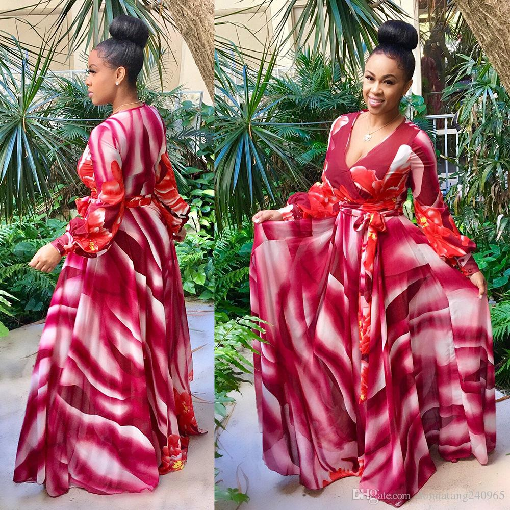 2017 deep V sexy summer maxi robe longue vêtements africains bazin riche robe af