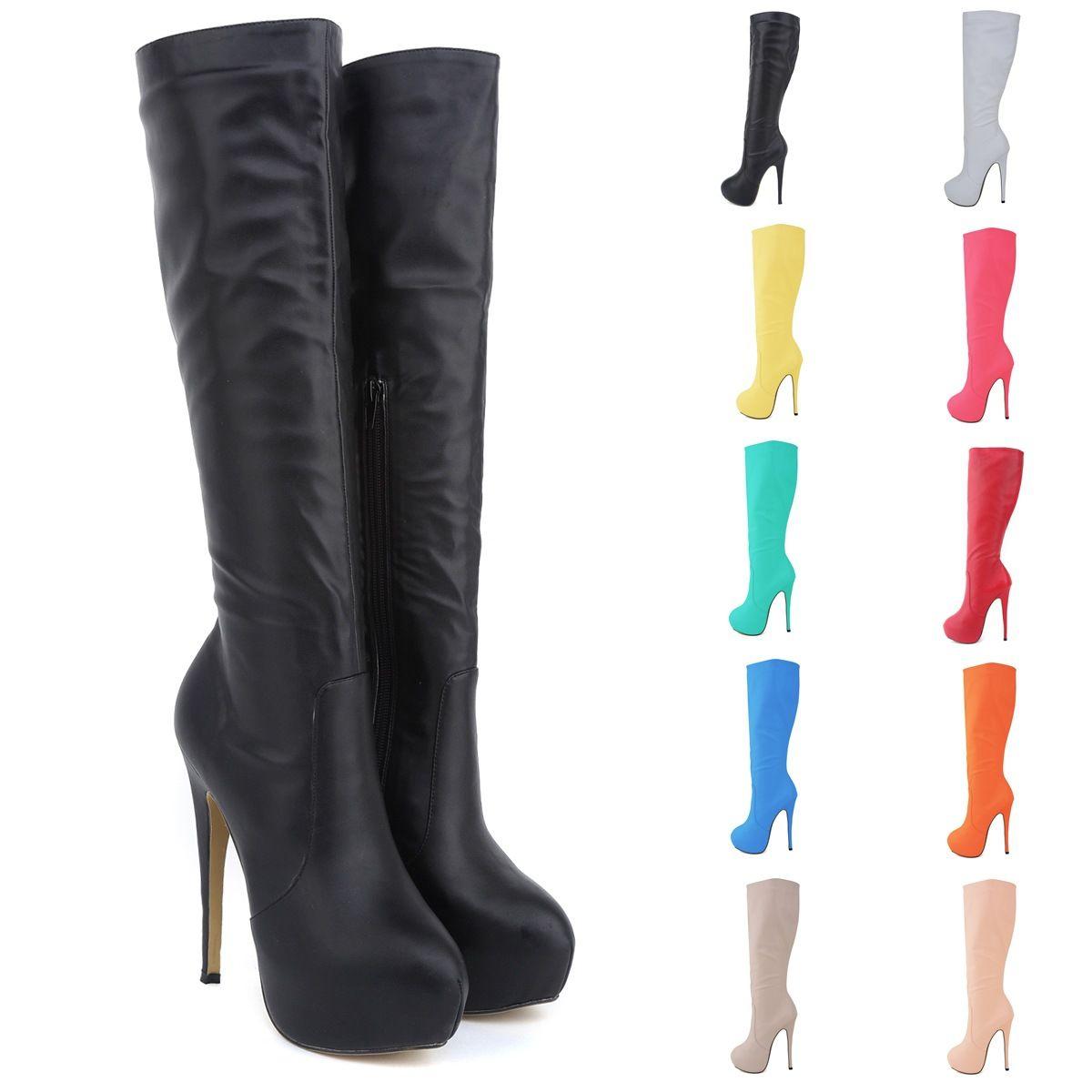 Boot Female Brand New Women High Heels Knee Wide Leg Stretch Women ...