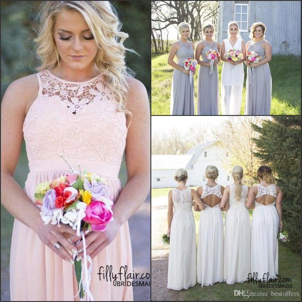 Hot country style bridesmaid dresses 2017 jewel neck top lace hot country style bridesmaid dresses 2017 jewel neck top lace cheap chiffon maid of honor gowns rustic prom party gowns wedding guest dress bridesmaid ombrellifo Images