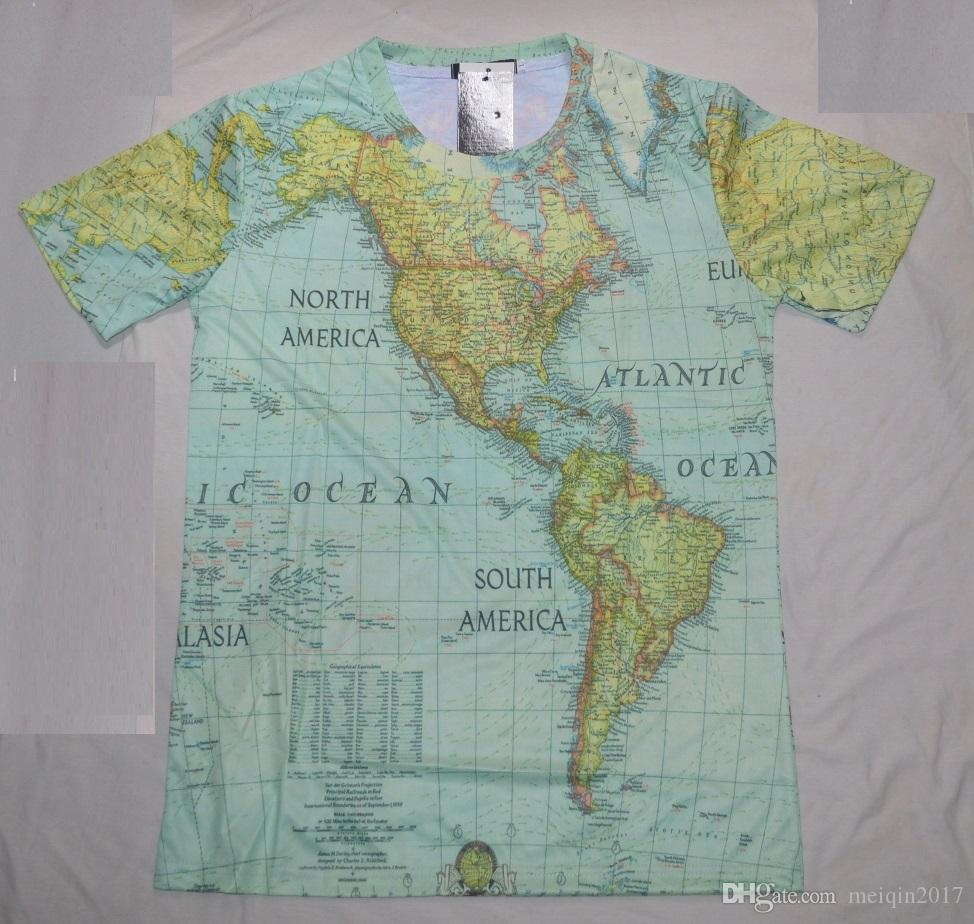 Mode unique tee-shirt t shirt pour hommes t-shirt impression carte du monde cart