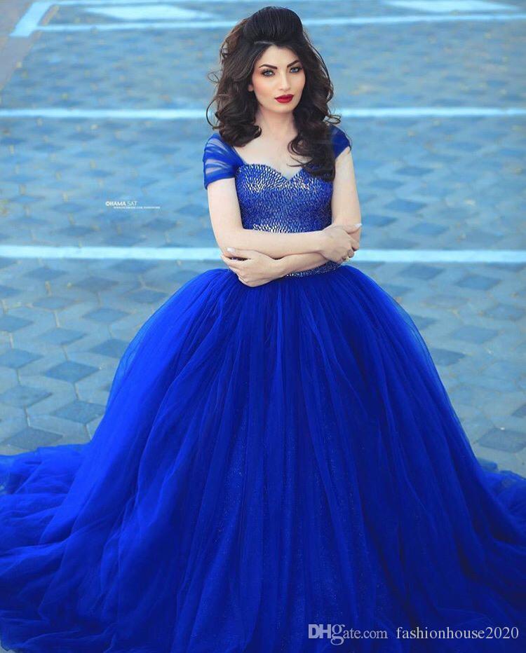 arabic design royal blue puffy wedding dresses cap sleeve fully