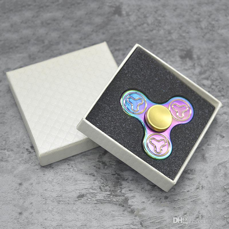 Metal Zinc Alloy Rainbow Colorful EDC Fingertip Gyro Toys Hand Spinner Fidget Sp