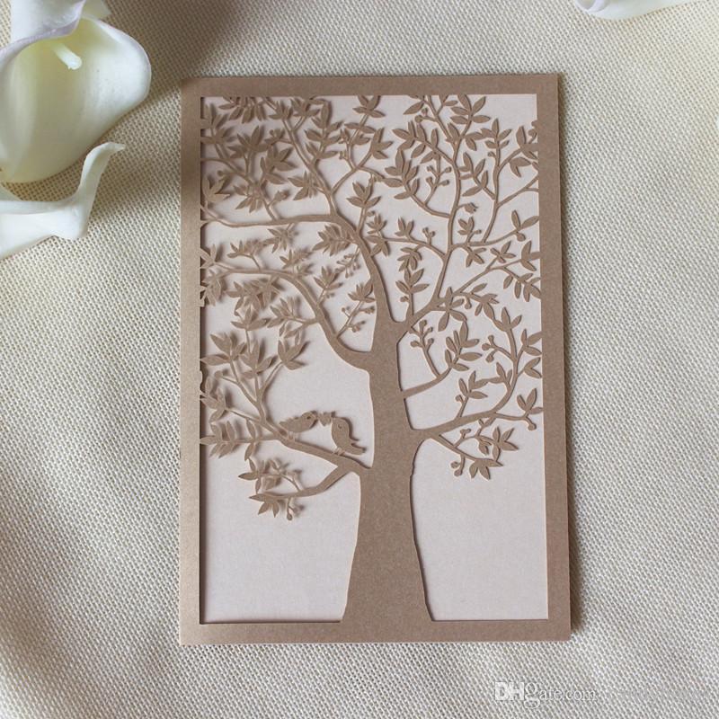 laser cut wed invitation embellishment tree design elegant wed invitation free ship multi colors for graduation birthday party