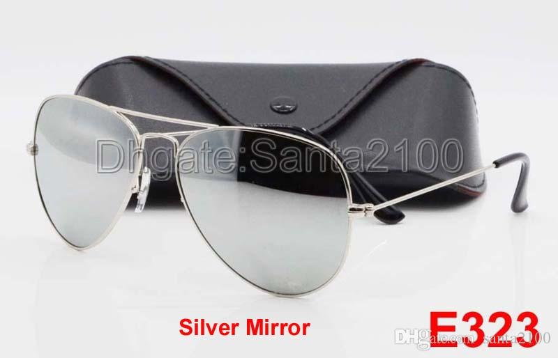 1pcs High quality Classic Pilot Sunglasses Designer Large Metal Sun Glasses For Men Women Silver Mirror 58mm 62mm Glass Lenses UV Protection