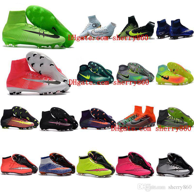 High Top Mens Kids Soccer Shoes Mercurial CR7 Superfly 5 FG Boys Football Boots Magista Obra 2 Women Youth Soccer Cleats Cristiano Ronaldo