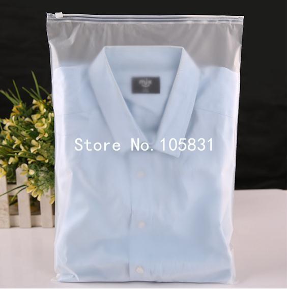 Wholesale 24x35cm zip lock zipper top frosted plastic bags for Wholesale t shirt bags
