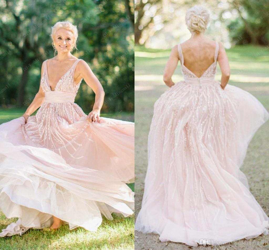 Discount 2016 Blush Pink Bohemian Beach Wedding Dresses V Neck Beaded 3d Floral Appliques A Line