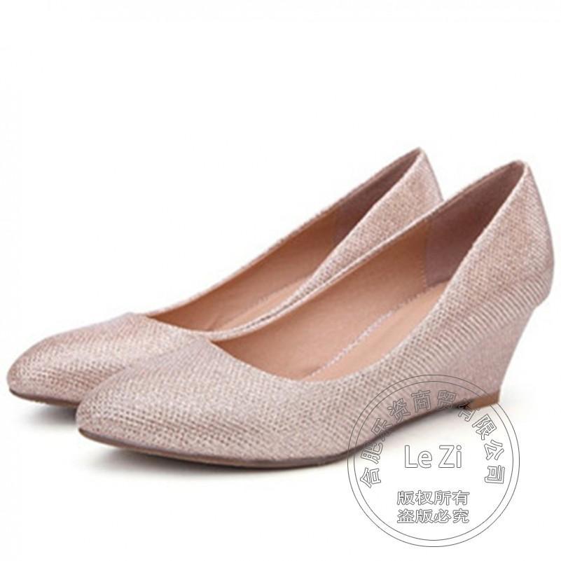 Cheap Black Wedge Dress Shoes Silver Wedding Sandals Pumps Glitter Big Plus Size Shoe Round Toe