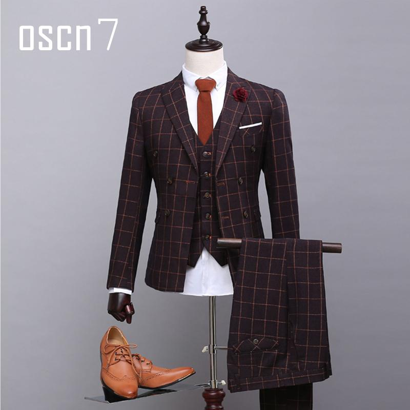 Wholesale- OSCN7 Dark Brown Double Breasted Suit Mens Plaid ...