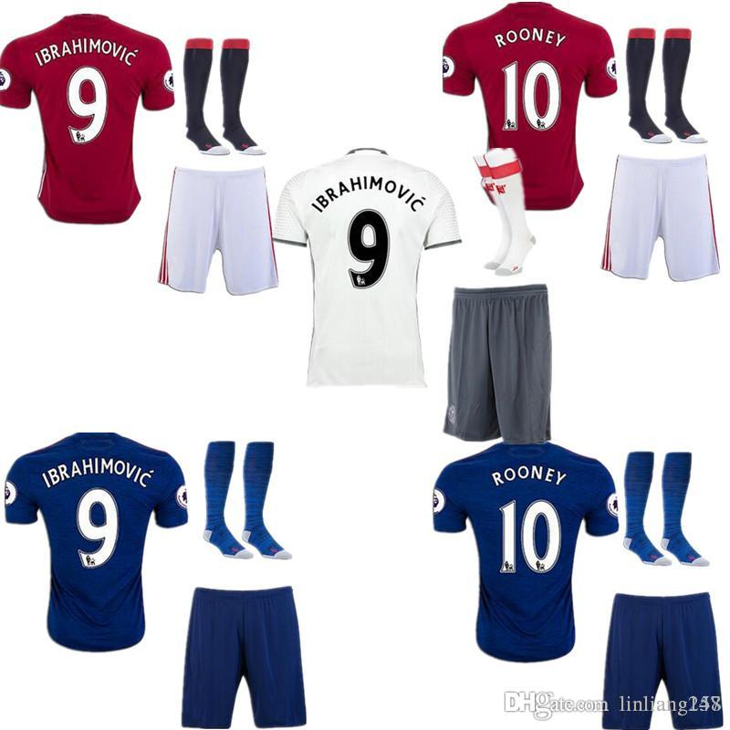 Top Quality 2016 MancHester Jerseys kit + chaussettes 16 17 UnITED Europa League