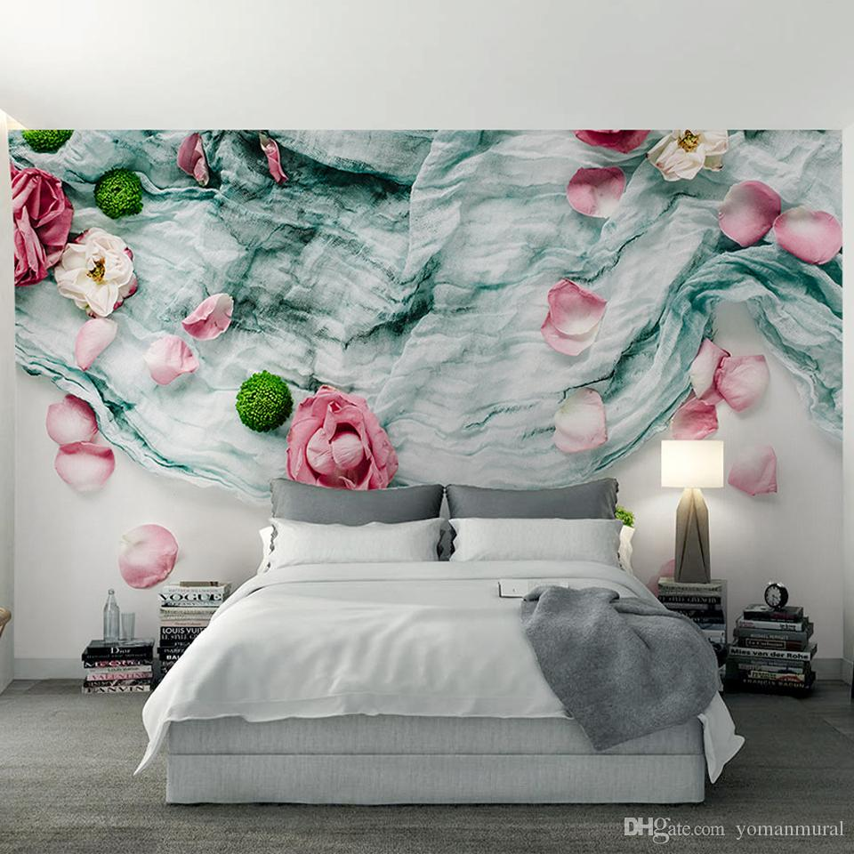3d Nordic Modern Style Non Woven Fabric Rose Petals ...