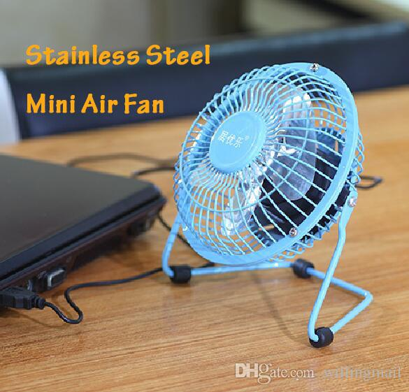 Small Table Fans : Metal small air desk fan available blue pink black