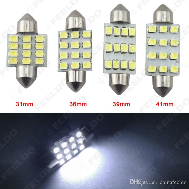 50pcs / lot Blanc 1210 12SMD 31mm / 36mm / 39mm / 41mm Car Dogue Festoon Lecture
