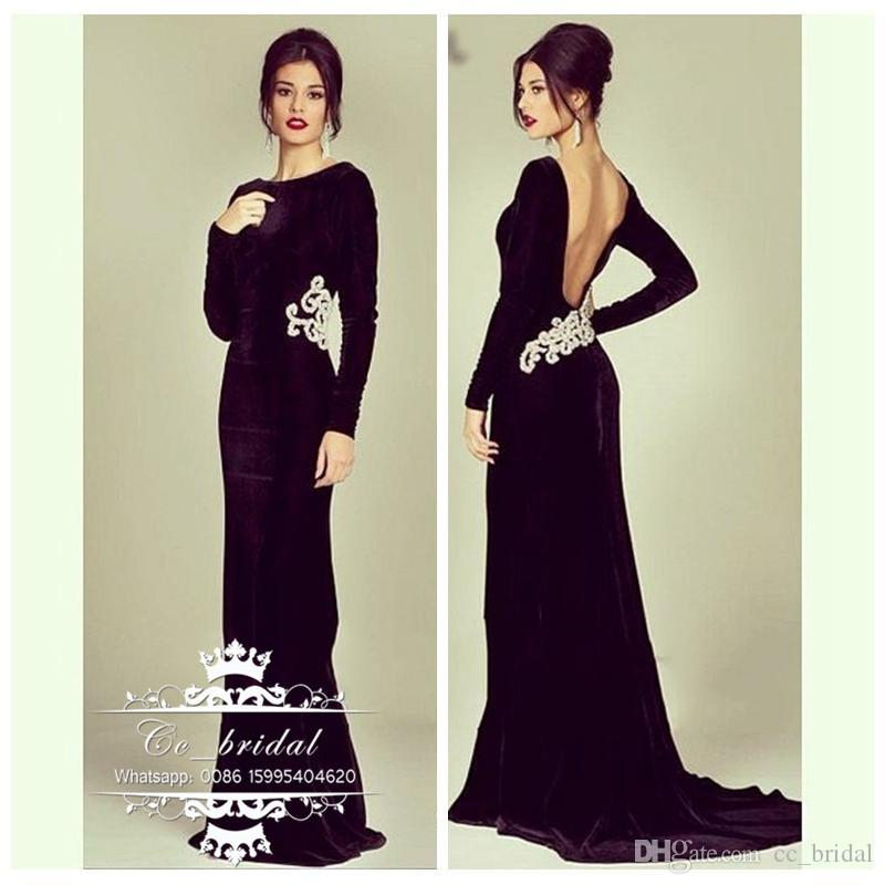 2017 simple black long sleeve backless mermaid prom for Velvet and lace wedding dresses
