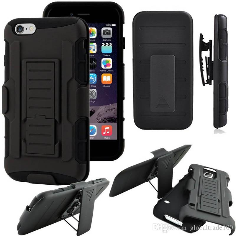 Rugged Hybrid Hard Silicone Case Cover Belt Clip Kickstand Holster Armor  Shockproof For IPhone 5S 6S 7 Plus Cases Free DHL Iphone 7 Case Rugged  Hybrid Case ...
