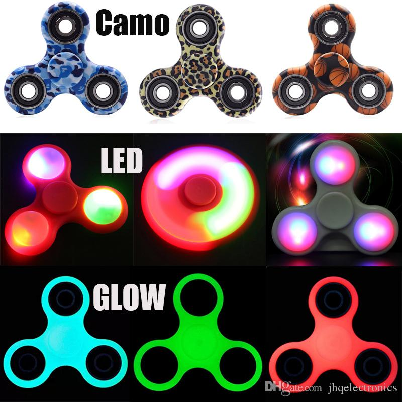 New led fidget spinners light up camouflage glow in dark for Light up fishing spinners