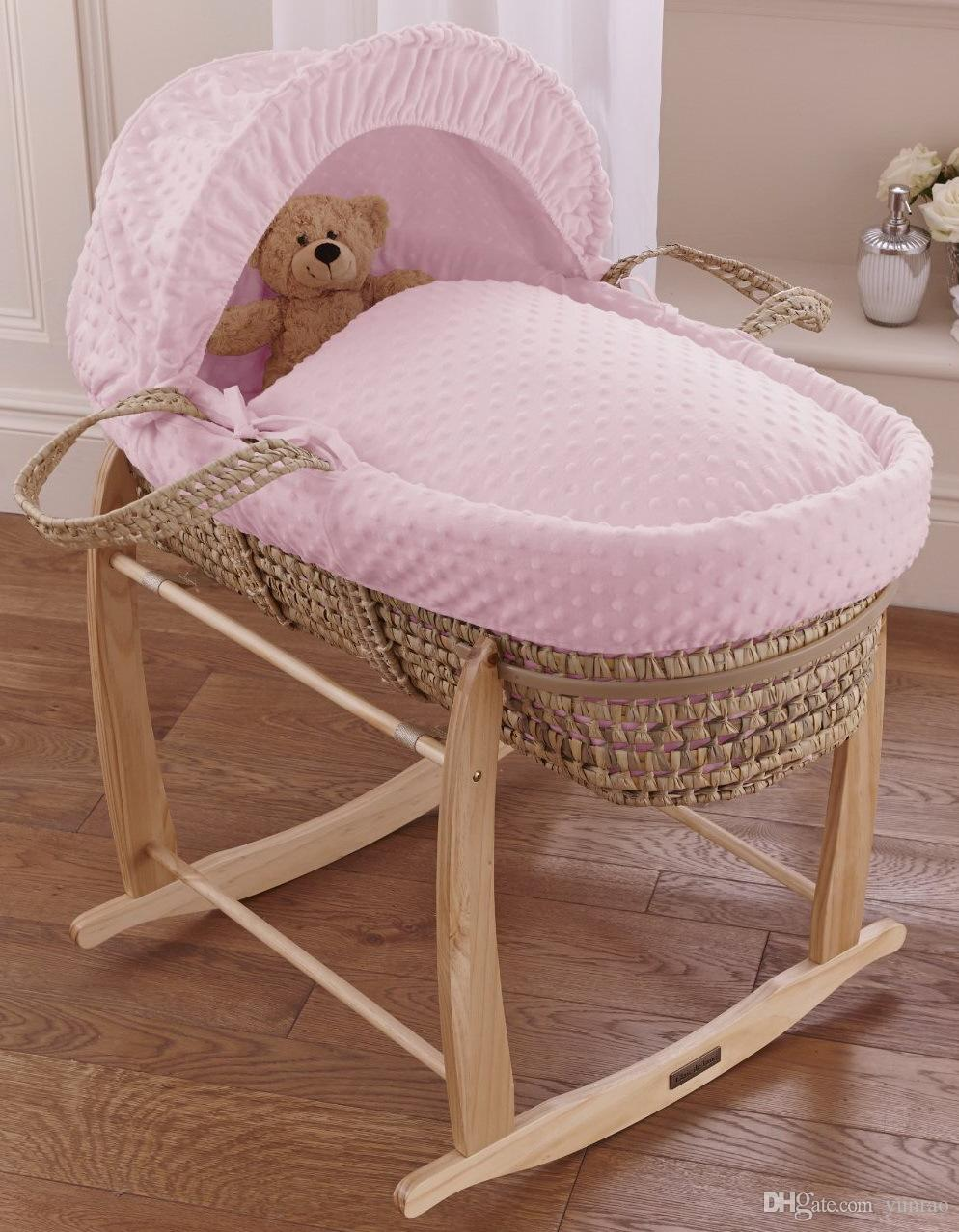 Baby cribs moses baskets - British Baby Moses Basket Replacement Cover Set Pink Dimple Crib Bedding Set 5 Pieces Inc Quilt