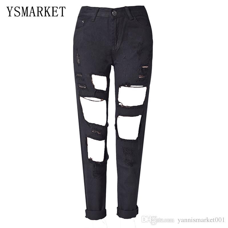 2017 Punk Rock Boyfriend Hole Ripped Jeans Women Pants Black Denim ...