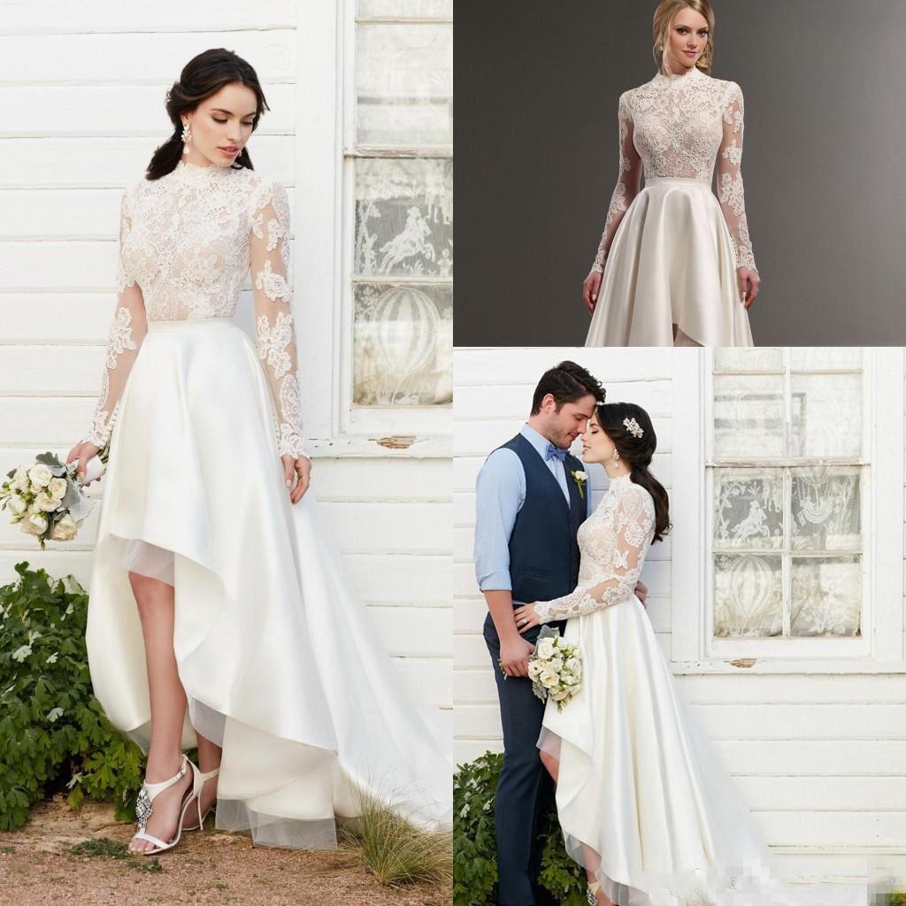 Discount vintage 2017 long sleeve high low wedding dresses for Long sleeve high low wedding dresses