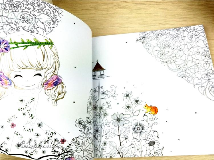 100Pages Beautiful Girl Colouring Book Secret Garden Coloring For Relieve Stress Kill Time Graffiti Painting Drawing New Online