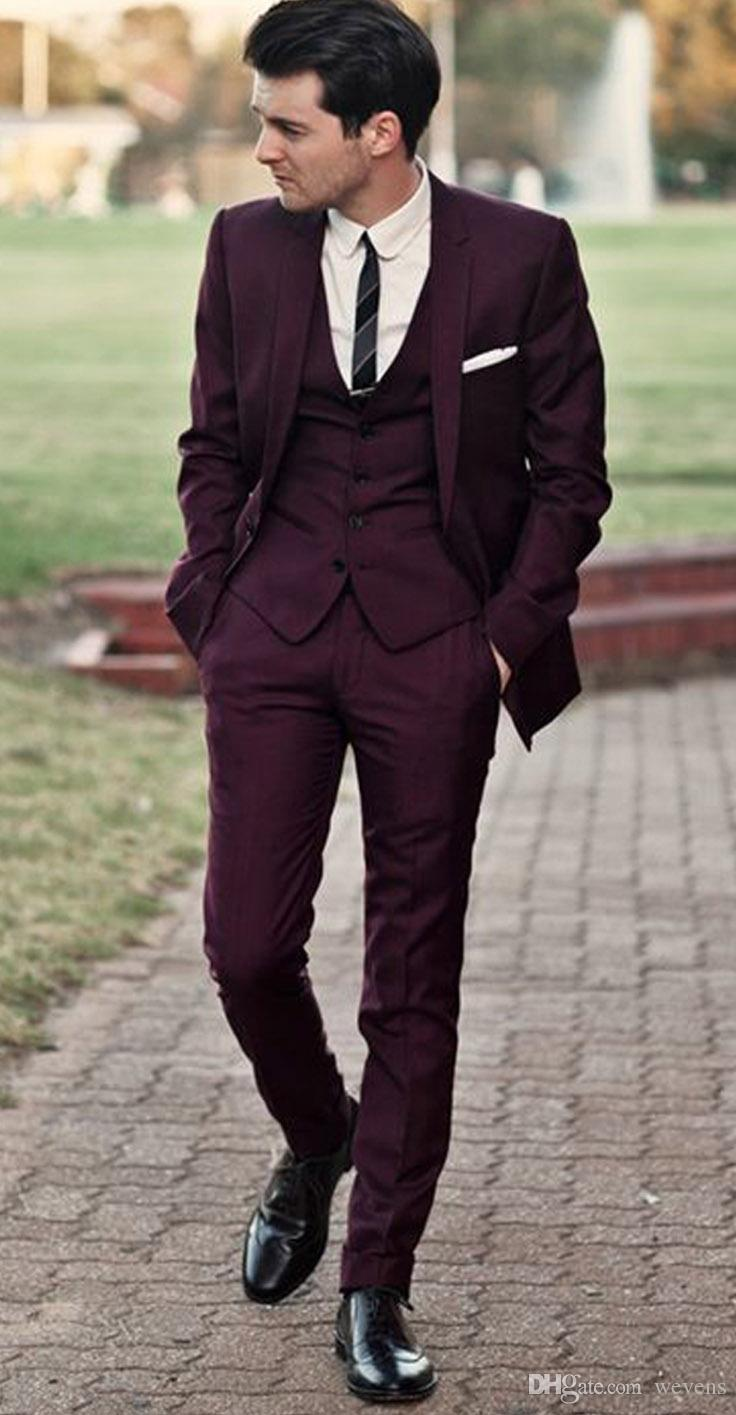 Handsome Burgundy Wedding Tuxedos Slim Fit Suits For Men Cheap ...