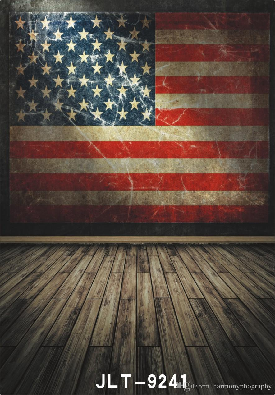 2017 America Flag Wallpaper Wooden Floor Photography