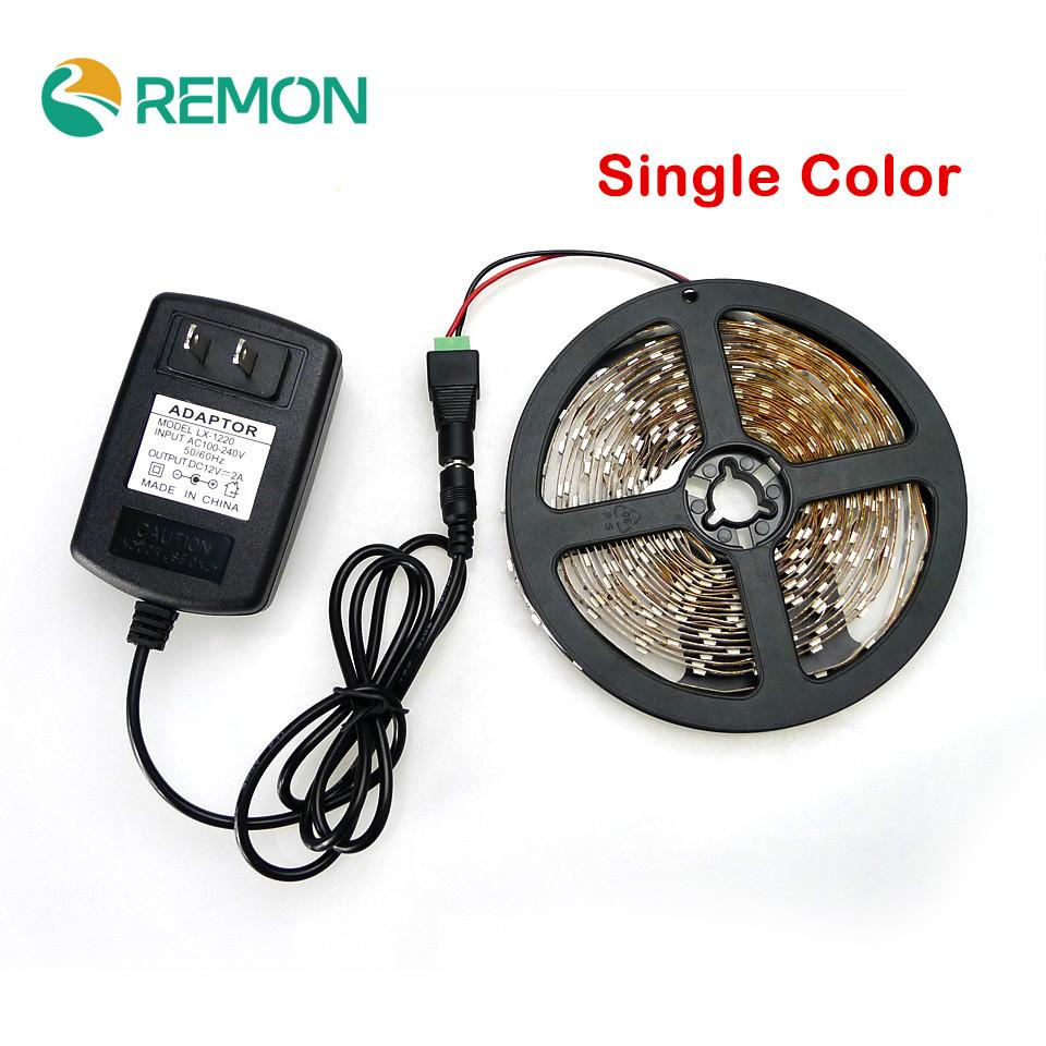 -Single Color LED Strip 5M 300Led 3528 SMD 12V 2A Power Adapter Female Connector Flexible Light Led Tape Home Decoration Lamps