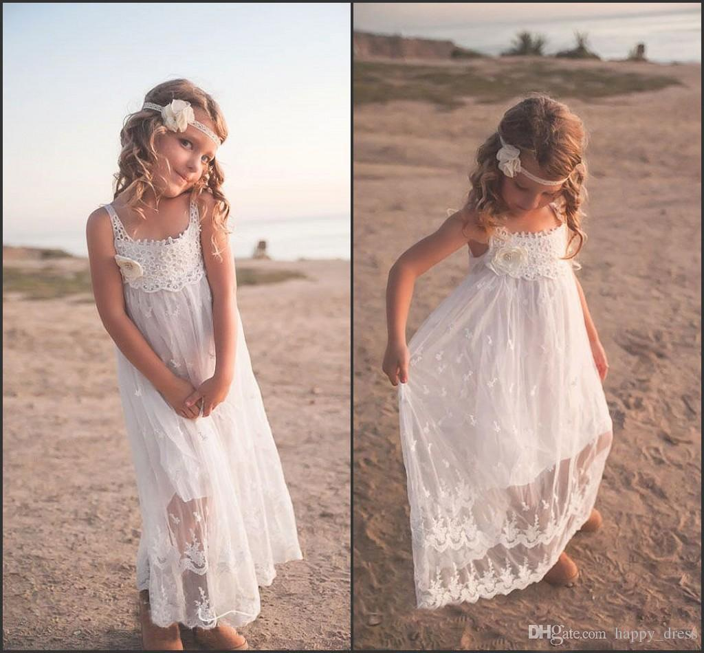 2016 Fashion Cheap Flower Girls Dresses For Beach Wedding Lace Spaghetti Cute