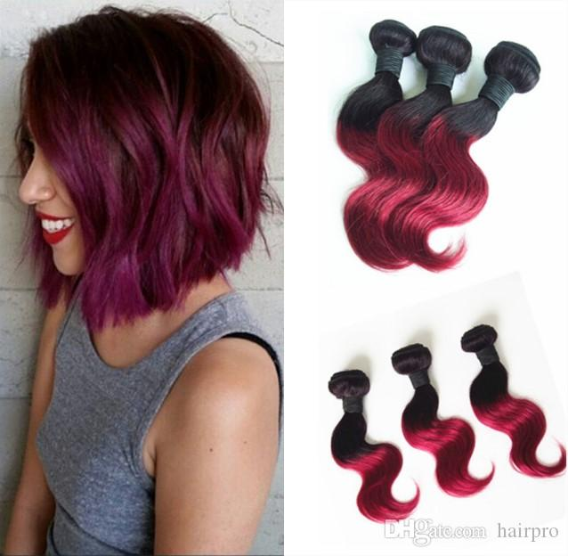 Human hair weave 10inch hair ombre colored two tone hair weave 1b human hair weave 10inch hair ombre colored two tone hair weave 1bburgundy wave style in different ways 1b burgundy human hair weaves hair extensions online pmusecretfo Image collections