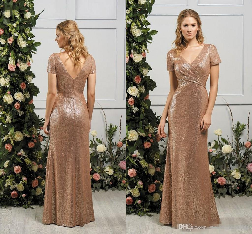 2017 gold sequined bridesmaid dresses short sleeves v neck low 2017 gold sequined bridesmaid dresses short sleeves v neck low back long prom country wedding guest dresses cheap maid of honor custom made 2017 bridesmaid ombrellifo Choice Image