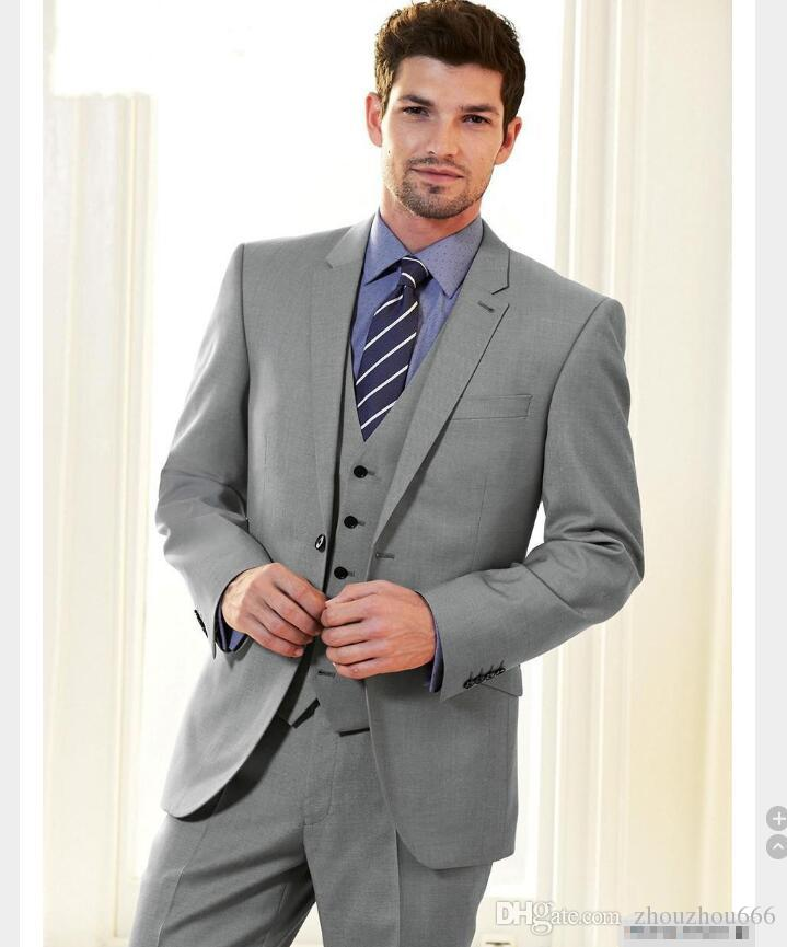 2017 Custom Made Grey Groom Suits Tuxedos Best Man Latest Coat And Pant Design Men Wedding Suits